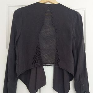 Lush - Hand-Embroidered Thread Back Cropped Blazer